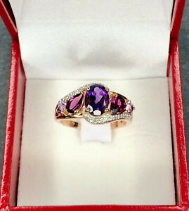 18k 750 Gold Ring Amethysts And Diamonds