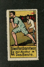 Vintage Advertising Poster Stamp German LOWEFRANZBRANNTWEIN Cigarettes Boxers