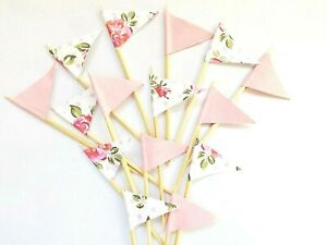 Floral Pink Cupcake Picks Cake Topper Flags Embellishments Party Baking Crafts