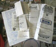 VINTAGE 1957 PAPERWORK VESPA ULTRA SCOOTER~RECIEPT/INSURANCE~CAFFYNS/ESSEX~MAIDS