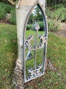 Arched Church Window Grey Mirror Indoor Outdoor Garden Vintage 60cm x 20cm