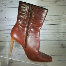 Skechers Something Else Womens  6.5 Cognac Leather Mid Calf Boots Heels