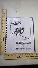 New Massey Harris NO. 6 sickle mower owners operator setup manual 1949
