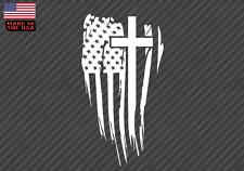 "American Flag Cross sticker decal - Christian Jesus 5"" (AmerCrossFlagVC5inch)"