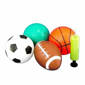 "4pk Sports Balls w Hand Pump 5"" Playground Balls Soccer Football Basketball"
