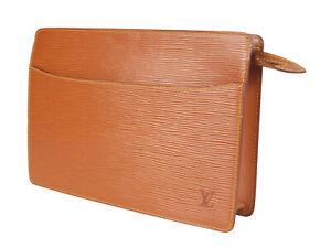 LOUIS VUITTON Pochette Homme Epi Leather Brown Clutch Bag LP4697
