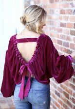 NWT Free People pink violet Shiny Velvet Backless Drawstring Bow Swing Top XS