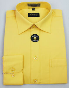 Mens Dress Shirt Plain Cheese Yellow Modern Fit Wrinkle-Free Cotton Blend Amanti