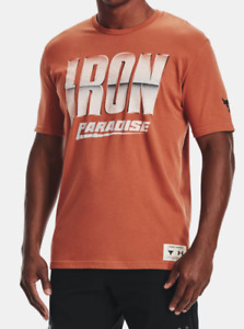Under Armour Project Rock Tee Mens Authentic Iron Paradise Short Sleeve Orange