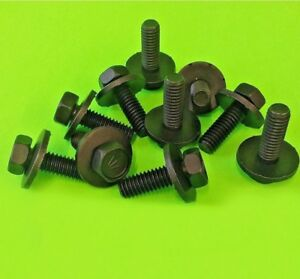"10pc 5/16""-18 x 1"" Long Indented Hex Head Fender Body Bolts Fasteners w/ Washer"