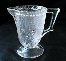 Vintage Flower Pressed Glass Creamer Pitcher #QA27