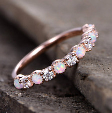 925 Silver Fire Opal Engagement Rings Rose Gold Wedding Band Gift Wholesale 8