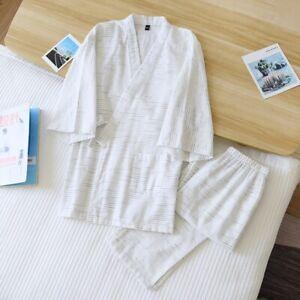 Chinese Japanese Mens White Stripes Long Kimono Pyjamas Pajamas menpjs55