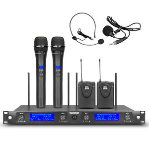 Wireless Microphone System UHF Audio 4 Channel 2 Handheld 2 Lavalier Mic Headset