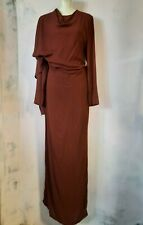 A.F. Vandevorst long wool dress w/ tow NEW medium burgundy Archive 2006 drape