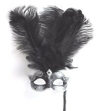 BLACK & SILVER FEATHER HAND HELD MASK & STICK VENETIAN CARNIVAL MASQUERADE PARTY