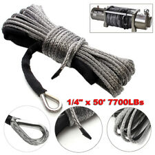 """1/4"""" x 50' 7700LBs Synthetic Winch Line Cable Rope with Sheath ATV UTV Gray"""