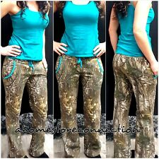 NEW~WOMENS REALTREE CAMO TURQUOISE TEAL FLEECE HUNTING LOUNGE SWEAT PANTS~M
