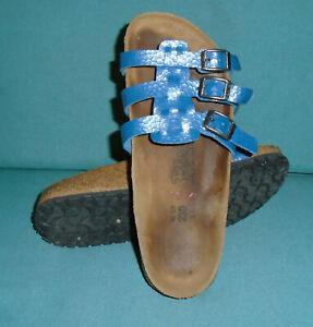 BIRKENSTOCK Sandals BLUE Textured Reptile Snake Skin BIRKIS Womens Sz 5 (36) N