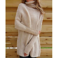 Fashion Women's Oversized Loose Knit Sweater Turtleneck Long Sleeve Pullover