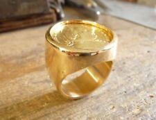 Chevalière massive or ronde avec pièce 20 Francs Louis XVIII