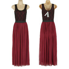 BNWT STUNNING LONG LENGTH RUBY RED & BLACK LACEY DETAIL PARTY DRESS SIZE 8 WOW