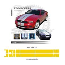 Ford Mustang 2010-2012 w/ Lip Spoiler Ralley Stripes Graphic Kit - Bright Yellow