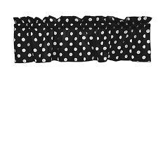 lovemyfabric Cotton White Polka Dots/Spots Design Kitchen Curtain Valance-Black