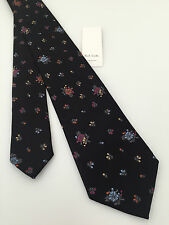 PAUL SMITH 100% SILK BLACK FLORAL TIE MADE IN ITALY BNWT