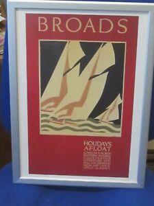 Norfolk Broads Art Deco Framed Poster Holidays Afloat of 1926 by Freda Lingstrom
