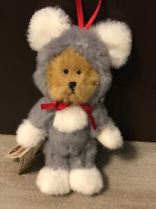 Boyds Bears Plush Ornament Mouserella Bear In Mouse Costume  RARE