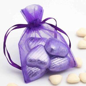 10 Violet Organza Cadeau Sacs Mariage Fête Noël Bijoux Bonbon Pochettes 9 x 12cm