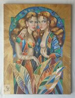 ELENA KHMELEVA b1966 large original signed canvas oil painting Diane & Callisto