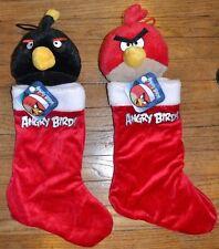 "2 Angry Birds Pig, Red Bird & Black Bomb Plush Christmas Holiday Stockings 17"""
