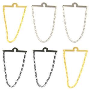 2 PCS Men Plain Silver Gold Color Tie Chain Wedding Party Necktie Accessories