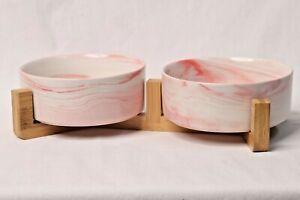 LIONWEI LIONWELI Ceramic Cat Bowl with Wood Stand No Spill Pet Food Water Feeder
