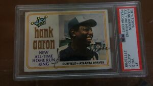 1974 Topps #1 HOF HANK AARON Special HR King Autographed Signed PSA  AUTO 7-VG 3