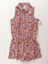 Girls' Elastic Waist w Bow Buttons Top Printed Romper Xhilaration Coral L(10/12)