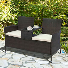 Outsunny Garden Rattan Companion Seat Outdoor Chair Table Set Patio Seat Bench