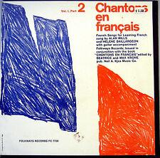 SEALED UNPLAYED CHANTONS EN FRANCAIS VOL. I Part 2 LP MILLS,BAILLARGEON FOLKWAYS
