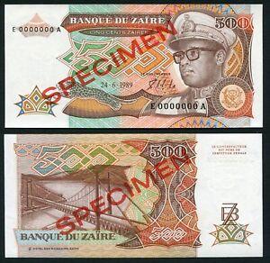 Congo Zaire 500 zaires 1989.06.24. Mobutu P34s Signature 7 Specimen UNC