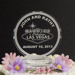 Personalized Custom Wedding Cake Top Topper Acrylic Las Vegas Poker Chip