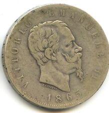 ITALIE VITTORIO EMANUELE II (1861-1878) 5 LIRES ARGENT 1865 TURIN
