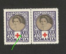 "ROMANIA-MNH PAIR-ERROR, DOT NEAR NUMBER ""5""- RED CROSS - Queen Mother Elena-1945"