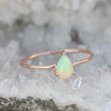 0.31 Ct. Opal Gemstone Wedding Ring Solid 14k Rose Gold Handmade Fine Jewelry