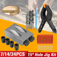 7/14/34Pcs Oblique Hole Locator Pocket Hole Jig Kit 15 Degree Angle Drill Bit