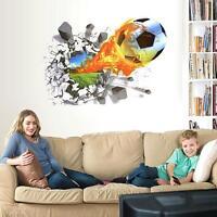 3D Soccer Ball Football Wall Sticker Decal Kids Room Decor Sport Boy Bedroom New