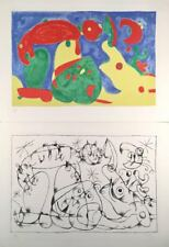 Joan Miro, Ubu Roi Diptych, Two original lithograph, hand monogrammed