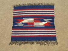 "Excellent Vintage Blue  Chimayo Weaving Rug 21x22"""