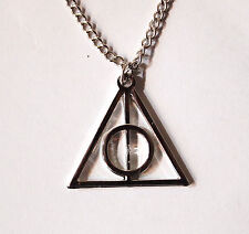 A Harry Potter Deathly Hallows Charm Pendant Necklace, White Gold Plated